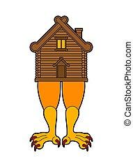 traditionnel, poulet, maison, russe, baba, legs., bois, yaga, home., hutte