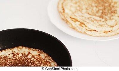 traditionnel, préparation, nourriture, francais, casserole crêpe, recette, fait maison, crêpes, petit déjeuner, friture, mince, cuisine