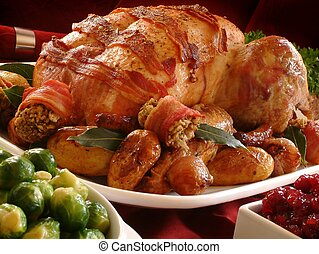 traditionnel, rôtir turquie, dîner