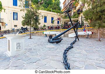 traditionnel, rue, -, série, grèce, armature, pictorial, artistique, ancre, chania, vendange, crete.