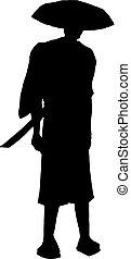traditionnel, samouraï, dessiner, figure