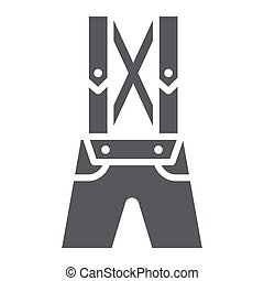 traditionnel, solide, modèle, bavarois, lederhosen, signe, cuir, vêtements, vecteur, arrière-plan., pantalon, graphiques, icône, blanc, glyph, pantalon