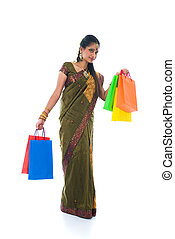 traditionnel, sud, indien, tenue femme, deepavali, sacs provisions, et, sourire