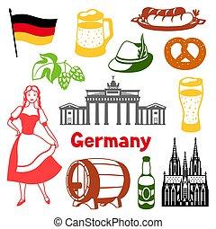 traditionnel, symbols., allemagne, national, set., icônes, allemand