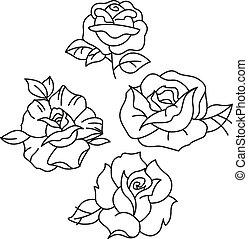 traditionnel, tatouage, roses