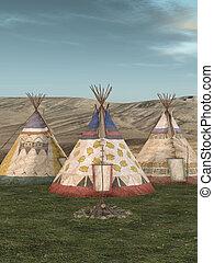 traditionnel, teepee, village