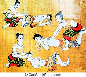 traditionnel, thaï, masage