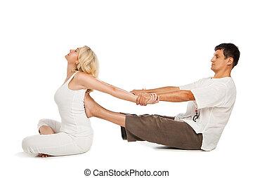 traditionnel, thaï, réception, femme, masage