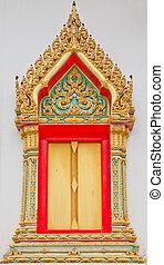 traditionnel, thaï, style, fenêtre, temple