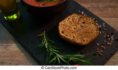 traditionnel, tomate, gaspacho, soup., espagnol, froid