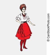 traditionnel, ukrainien, femme, girl, fond, isolé, blanc, vêtements, national, déguisement