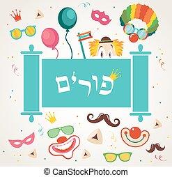 traditionnel, vacances, purim, juif, conception, appui ...