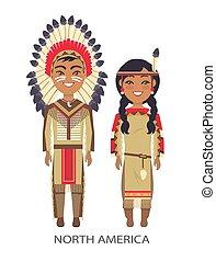 traditionnel, vecteur, amérique, nord, illustration