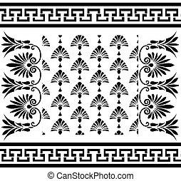 traditionnel, vendange, ensemble, ornements, grec