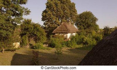 traditionnel, yard, petit, rustique, hutte, houses.