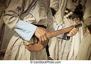 traditionnel, yobin, sien, festival, eco, inde, guitare, culturel, miao, pradesh, namdapha, arunachal, homme