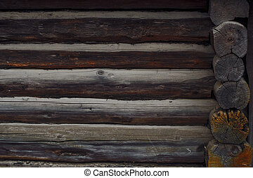 Traditions of wooden house building. Texture of the wall of ...