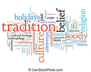 Tradition and culture issues and concepts word cloud illustration. Word collage concept.