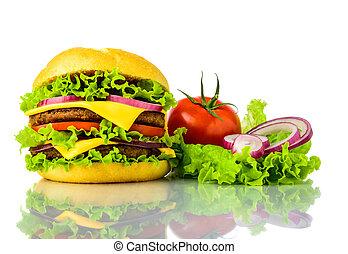 traditonal burger and vegetables
