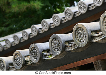 Traditonal Japanese roof tiles - A close up of the ...