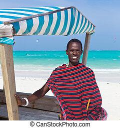 traditonaly, uomo nero, vestito, spiaggia.