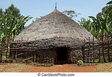 tradizionale, africano, capanna