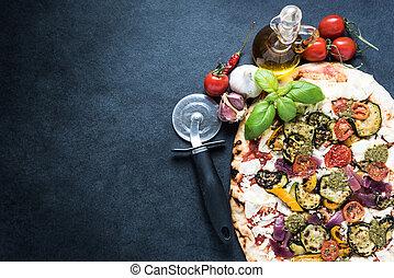 tradizionale, backgrpund, ricetta, pizza