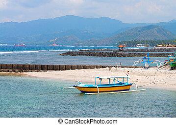 tradizionale, balinese, barca, su, uno, spiaggia