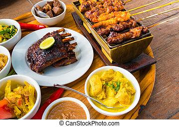 tradizionale, balinese, cibo marittimo, con, satay, e,...