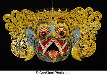 tradizionale, balinese, maschera, su, uno, nero, fondo.