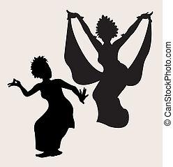 tradizionale, ballo, 2, silhouette