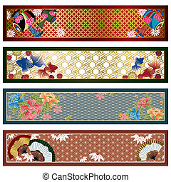 tradizionale, bandiere, giapponese