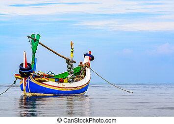 tradizionale, barca, indonesiano, (jukung), pesca
