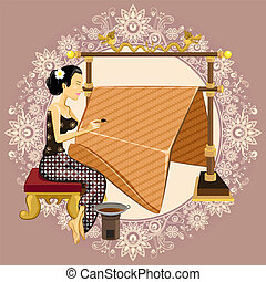 tradizionale, batik, indonesiano