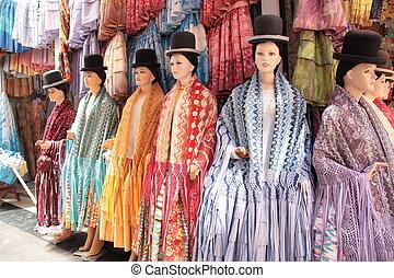 tradizionale, boliviano, costume