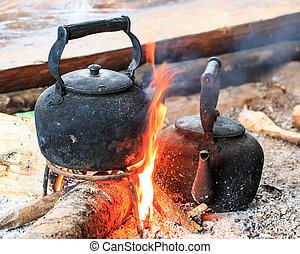 tradizionale, caffè, anticaglia, pot caffè, crema, a, doi, inthanon, nati