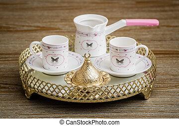 tradizionale, caffè turco, prresentation, su, uno, classico, vassoio, con, specchio