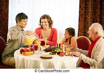 tradizionale, cena, ringraziamento
