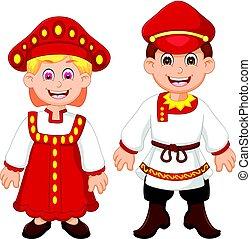 tradizionale, coppia, costume, russia, cartone animato