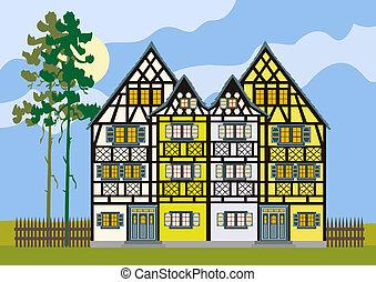 tradizionale, cottage, casa fattoria