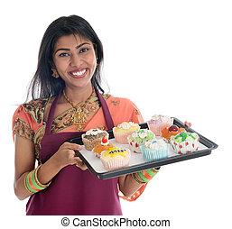 tradizionale, cupcakes, donna, cottura, indiano