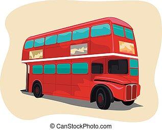 tradizionale, decker doppio, londra, autobus, rosso