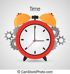 Tradizionale, tempo, disegno, ingranaggi, orologio. Colorito