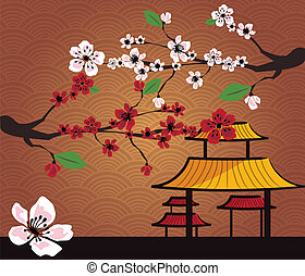 tradizionale, giapponese, paesaggio