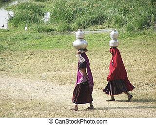 tradizionale, indiano, donne