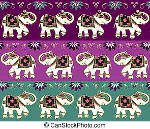 tradizionale, indiano, fondo, elefante