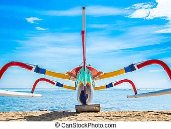 tradizionale, indonesiano, canoa outrigger