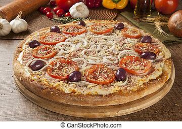 tradizionale, italiano, wooden., pizza