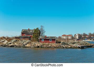 tradizionale, legno, houses., finlandese