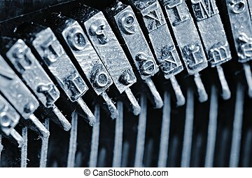 tradizionale, macchina scrivere, dettaglio, letterpress, primo piano, typebars., arms.